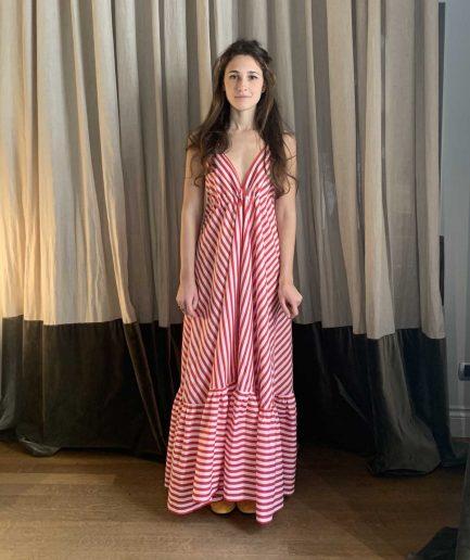 Lavi Couture Maxi Abito Righe Rosse - ITZI HUB: il luogo sicuro per i tuoi regali