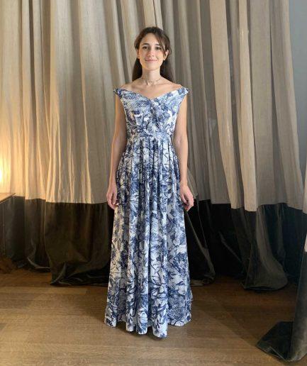 Lavi Couture Maxi Abito Stampa Blu - ITZI HUB: il luogo sicuro per i tuoi regali