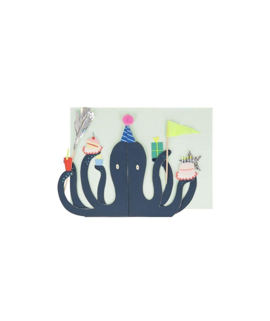 Meri Meri Biglietto di Compleanno Polipo - ITZI HUB: il luogo sicuro per i tuoi regali