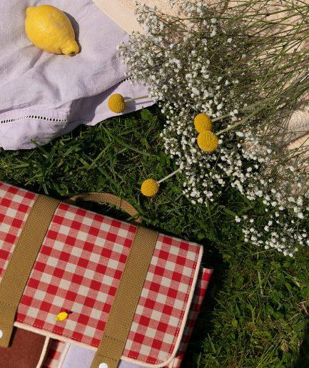 Sticky Lemon School Bag Gingham Verde e Rossa - ITZI HUB: il luogo sicuro per i tuoi regali