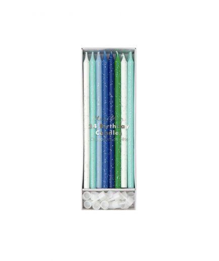 Meri Meri Candeline Glitter Blu - ITZI HUB: il luogo sicuro per i tuoi regali